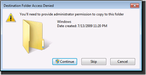 Access Denied error when attempting to copy files into the ...