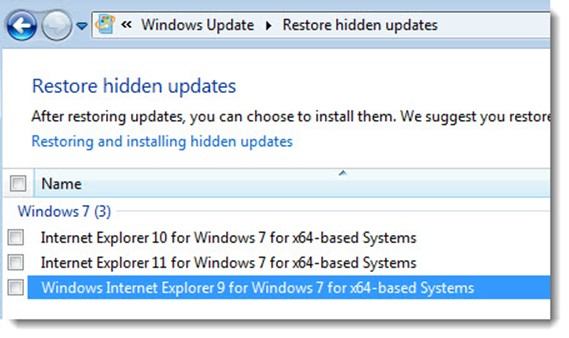 Set Windows 7 to NOT install Internet Explorer 9, 10, and 11