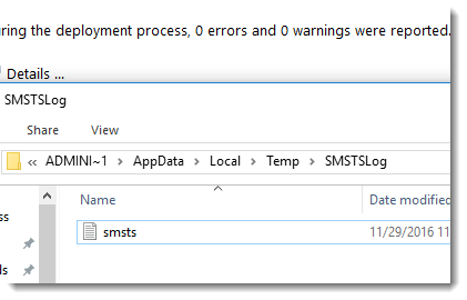 Locate the smsts log | Support is >Here<